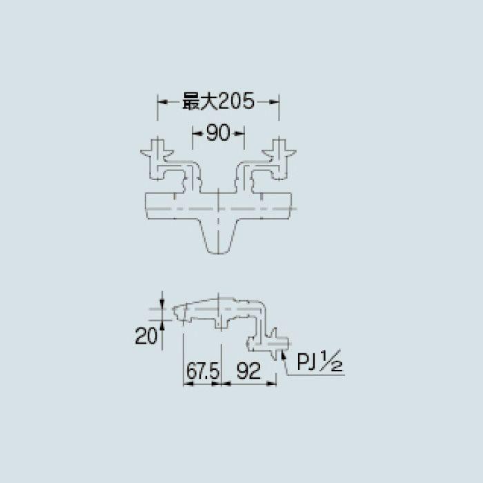 173-077K 浴室水栓 サーモスタットシャワー混合栓(寒冷地仕様)