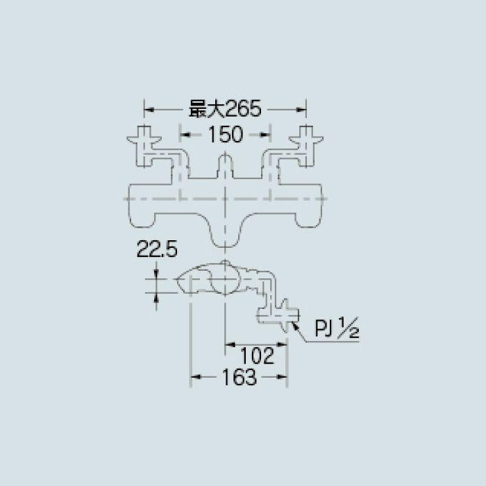 173-214 浴室水栓 サーモスタットシャワー混合栓【壁付】