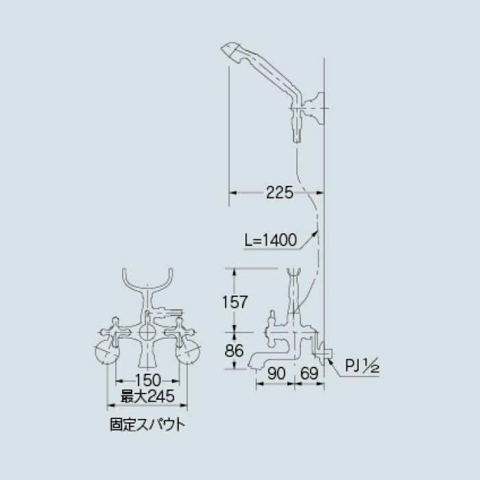 133-507-G 浴室水栓 2ハンドルシャワー混合栓 ゴールド