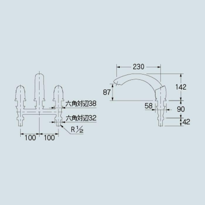 154-000 浴室水栓 バスデッキ混合栓