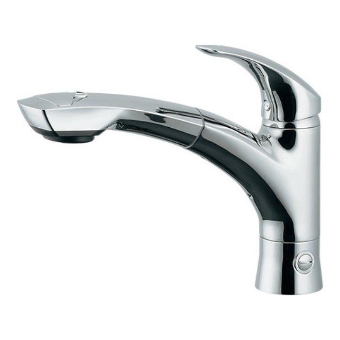 118-027 キッチン水栓 シングルレバー引出し混合栓(分水孔つき)