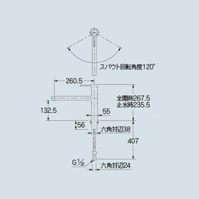 117-129K キッチン水栓 シングルレバー混合栓(寒冷地仕様)