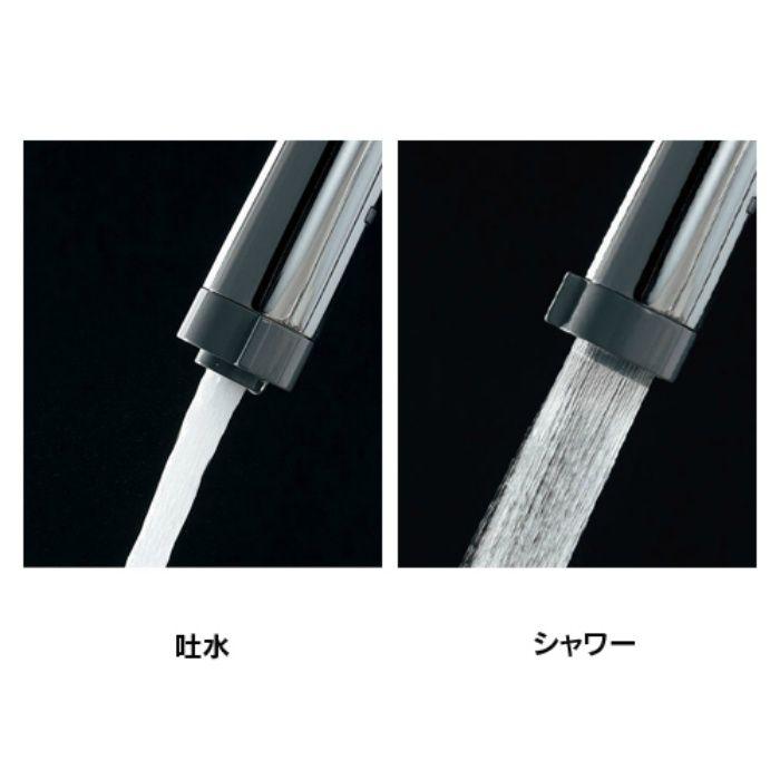 117-127K キッチン水栓 シングルレバー混合栓(シャワーつき)(寒冷地仕様)