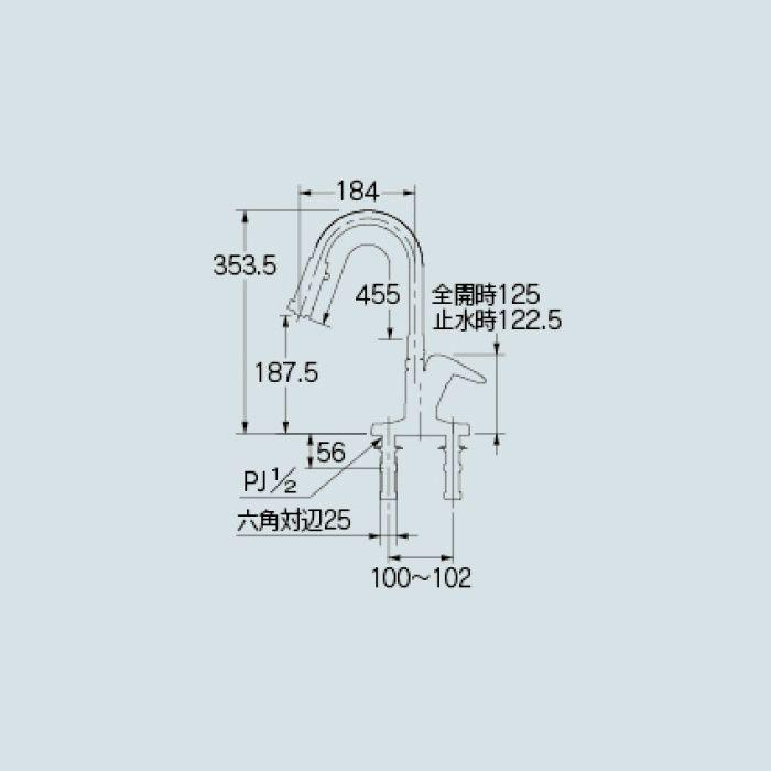 116-109 キッチン水栓 シングルレバー混合栓(シャワーつき)【ツーホール(台付)】
