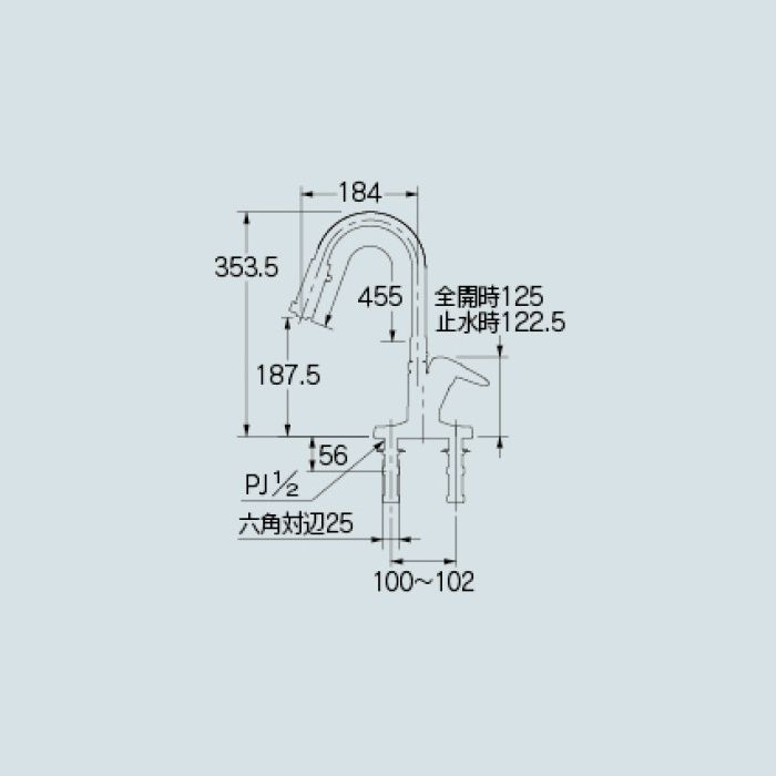 116-109K キッチン水栓 シングルレバー混合栓(シャワーつき)(寒冷地仕様)