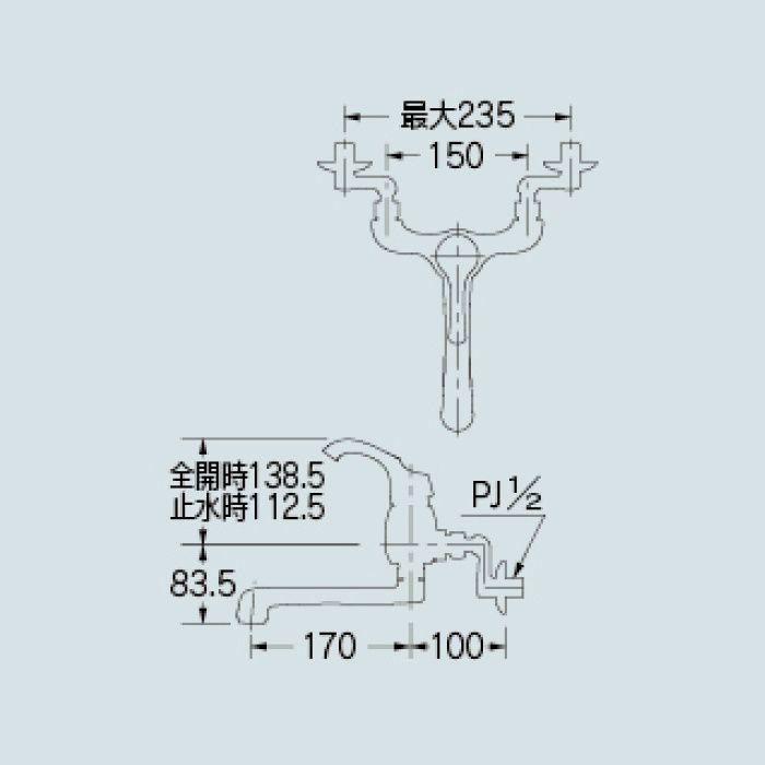 192-052K-CG キッチン水栓 シングルレバー混合栓(寒冷地仕様) クリアブラス【壁付】