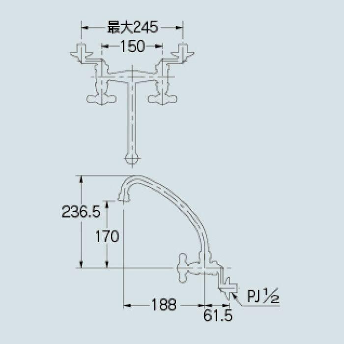 126-007 キッチン水栓 2ハンドル混合栓