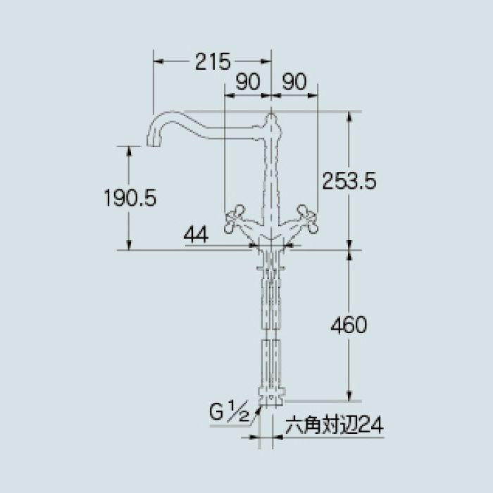 150-430-AB キッチン水栓 2ハンドル混合栓 オールドブラス