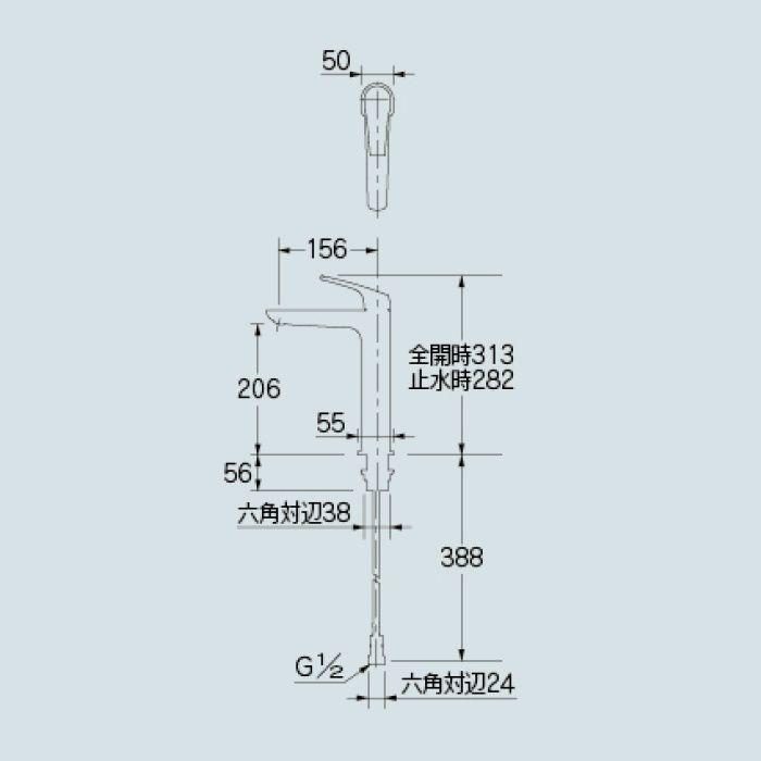 183-197GN-D 洗面水栓 シングルレバー混合栓(トール) マットブラック