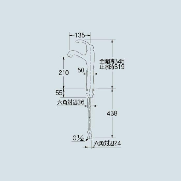 183-105-CG 洗面水栓 シングルレバー混合栓(トール) クリアブラス