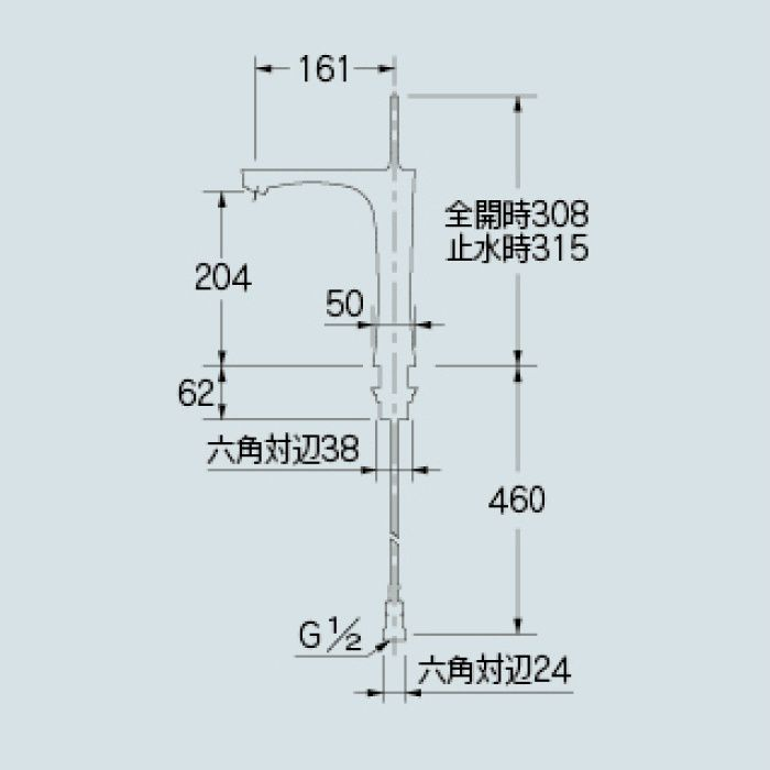 183-235GN-GR 洗面水栓 シングルレバー混合栓(トール) ライムグリーン