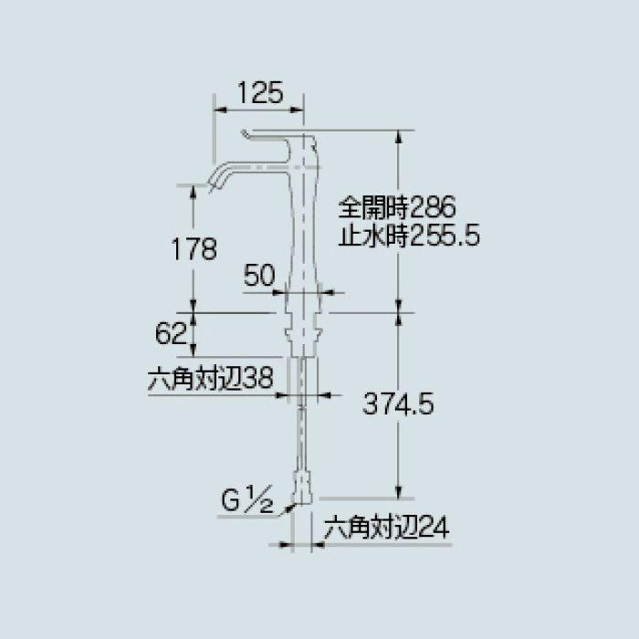 183-163 洗面水栓 シングルレバー混合栓(ミドル)
