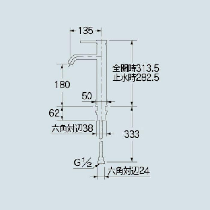 183-267 洗面水栓 シングルレバー混合栓(ミドル)
