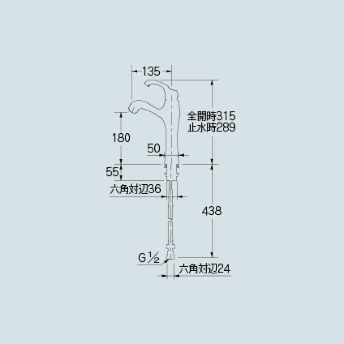 183-103K-CG 洗面水栓 シングルレバー混合栓(ミドル)(寒冷地仕様) クリアブラス