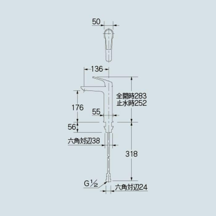 183-195GN 洗面水栓 シングルレバー混合栓(ミドル)