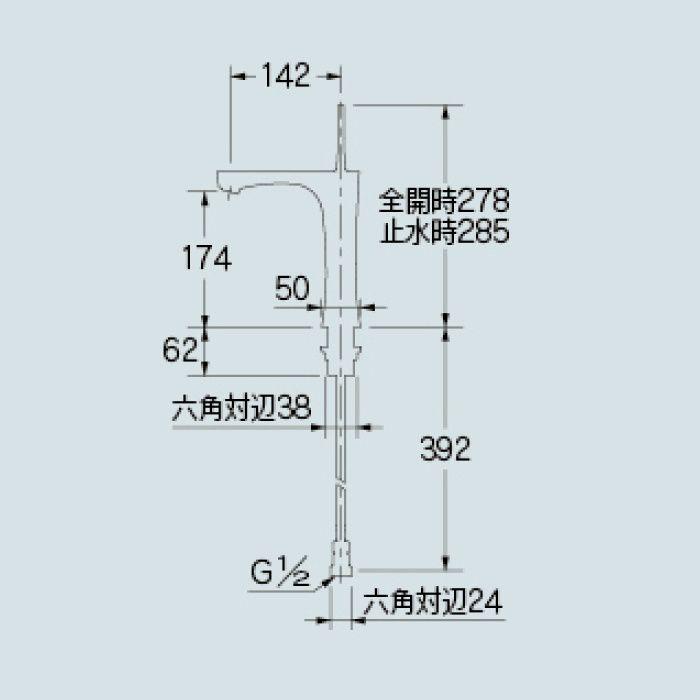 183-233GN-D 洗面水栓 シングルレバー混合栓(ミドル) マットブラック【ワンホール】