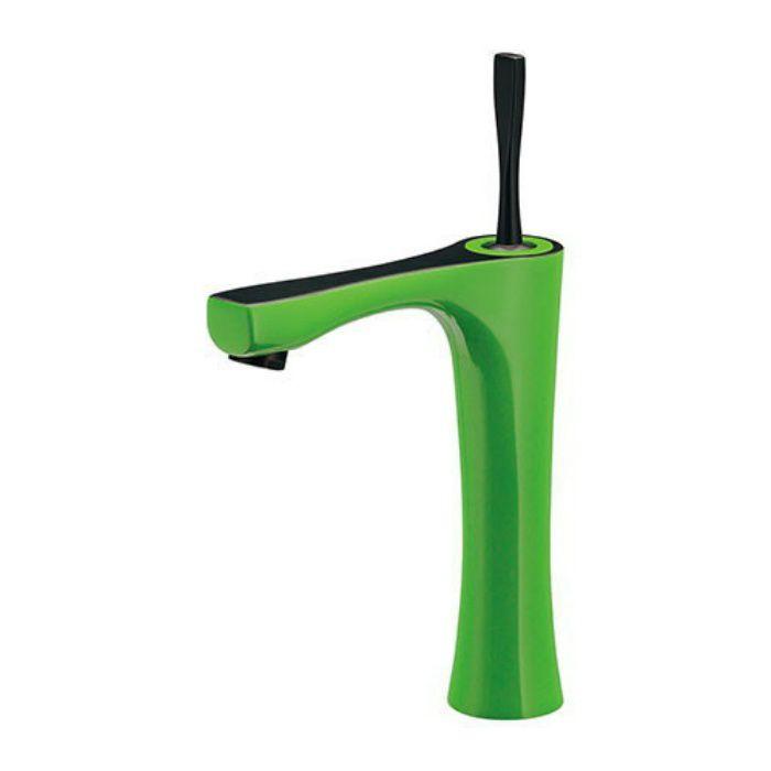183-233GN-GR 洗面水栓 シングルレバー混合栓(ミドル) ライムグリーン【ワンホール】