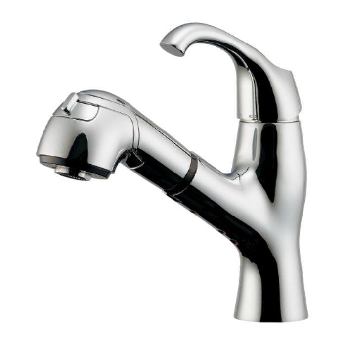 184-024K 洗面水栓 シングルレバー引出し混合栓(寒冷地仕様)【ワンホール】