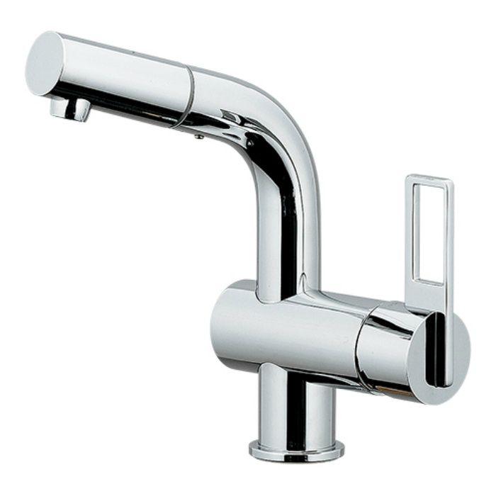 184-013K 洗面水栓 シングルレバー引出し混合栓(寒冷地仕様)【ワンホール】