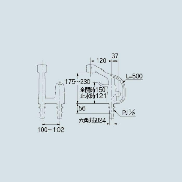185-518K 洗面水栓 シングルレバー混合栓(シャワーつき)(寒冷地仕様)