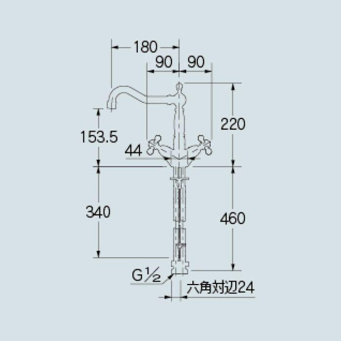 150-433-AB 洗面水栓 2ハンドル混合栓 オールドブラス