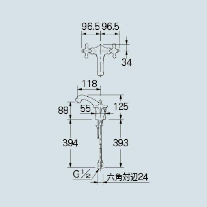 150-453-G 洗面水栓 2ハンドル混合栓 ゴールド