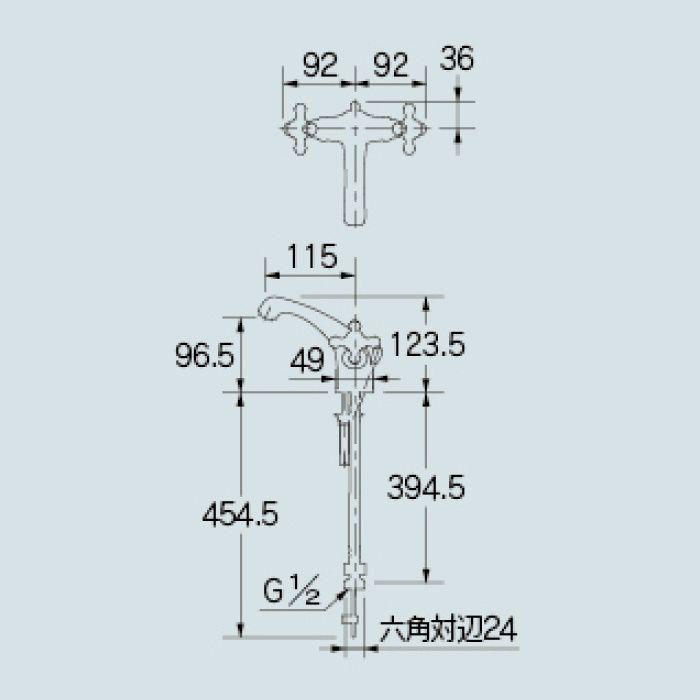 150-444 洗面水栓 2ハンドル混合栓