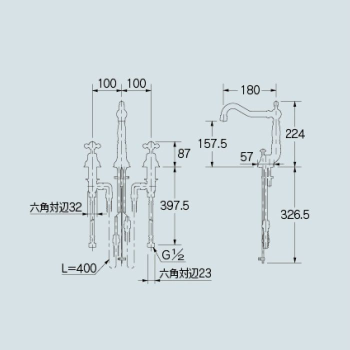 153-024-AB 洗面水栓 2ハンドル混合栓 オールドブラス