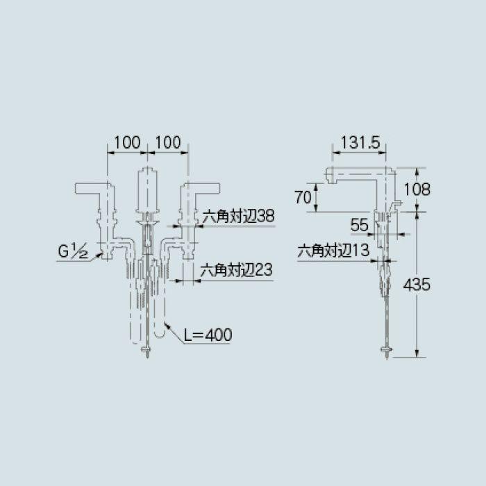 153-006 洗面水栓 2ハンドル混合栓