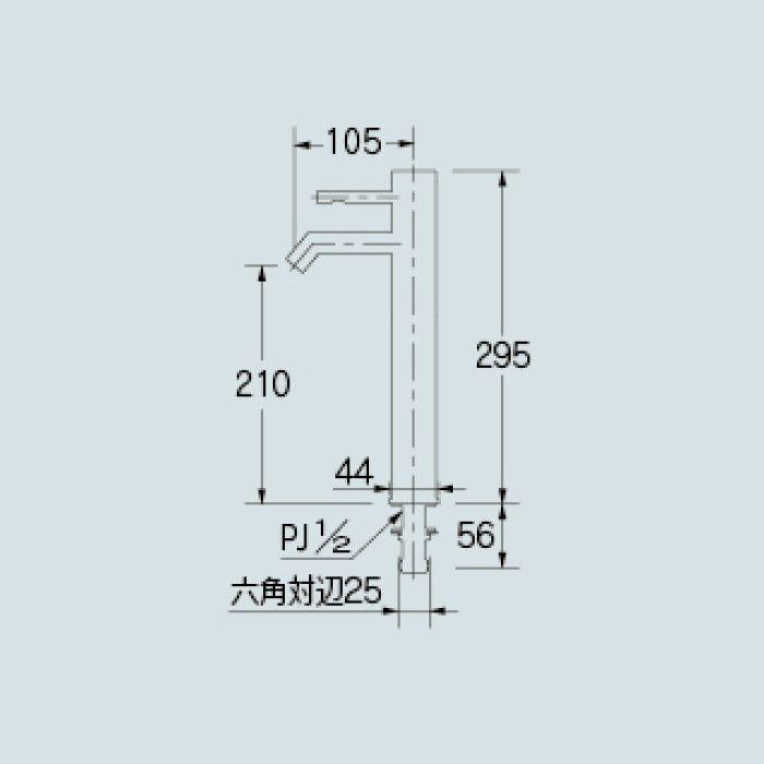 716-215-13 洗面水栓 シングルレバー立水栓(トール)【ワンホール】