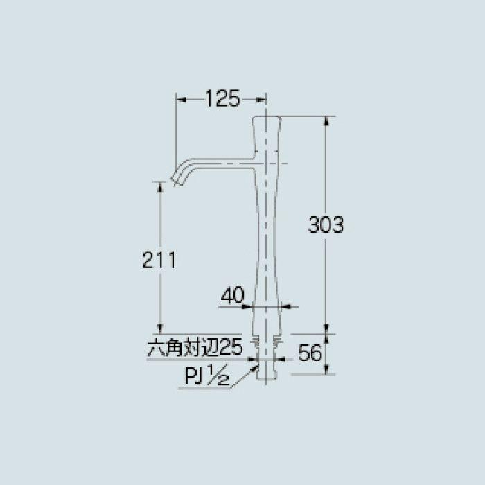 716-263-D 洗面水栓 立水栓(トール) マットブラック【ワンホール】