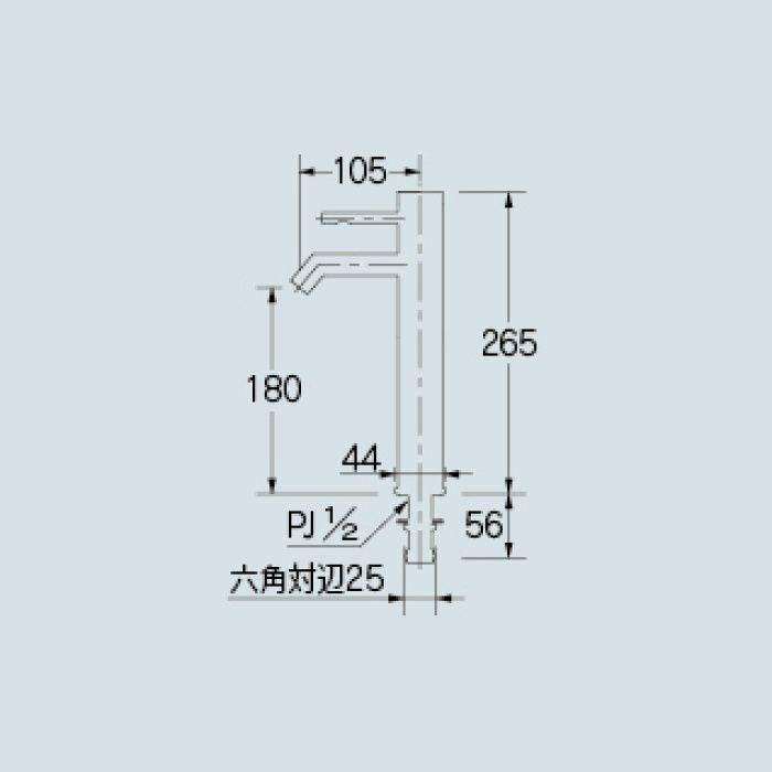716-214-13 洗面水栓 シングルレバー立水栓(ミドル)