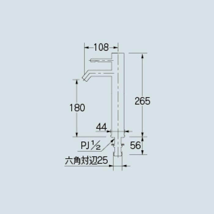 716-271-D 洗面水栓 シングルレバー立水栓(ミドル) ブラック