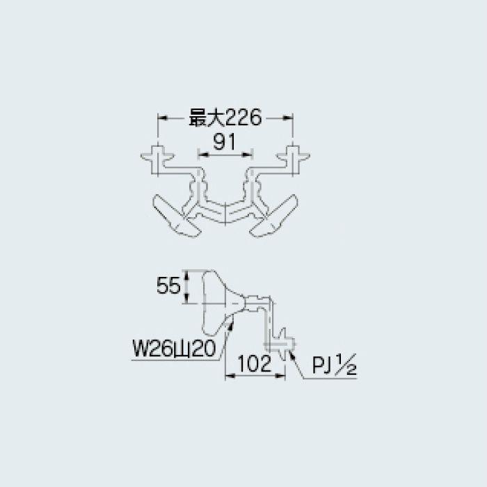 128-059 洗面水栓 2ハンドル混合栓本体(どっか~ん)