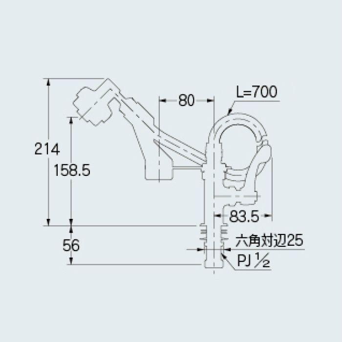 700-732-13QR 厨房水栓 厨房用立形シャワー水栓