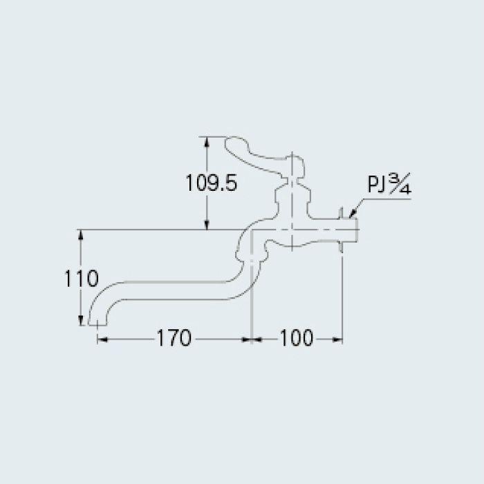 724-007-20 厨房水栓 厨房用自在水栓(左二条ネジ)