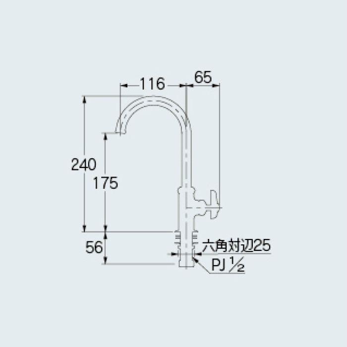 700-764-13 一般水栓 立形スワン水栓