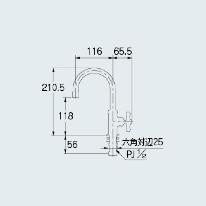 700-769-BP 一般水栓 立形スワン水栓 ブロンズ