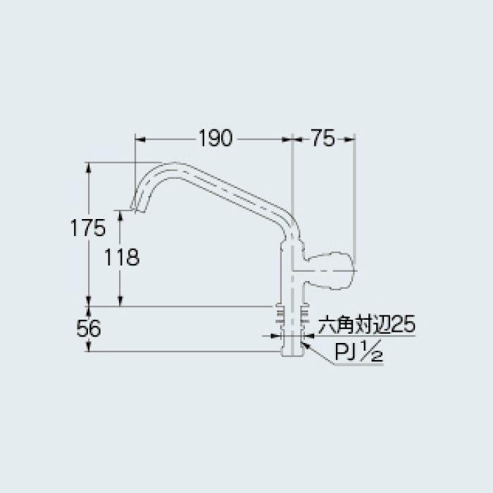 700-802-13 一般水栓 立形自在水栓