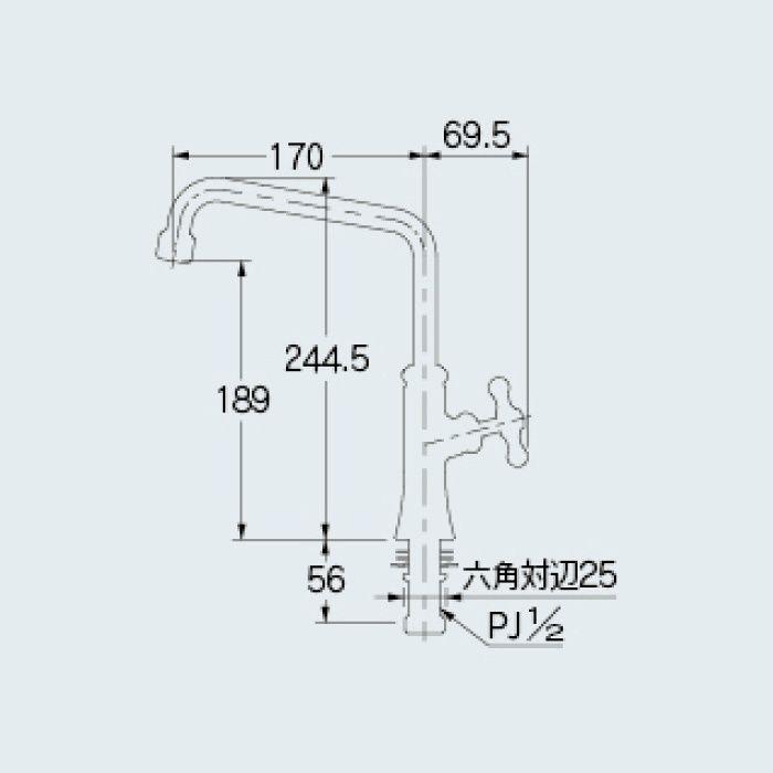 700-760-13 一般水栓 泡沫立形自在水栓