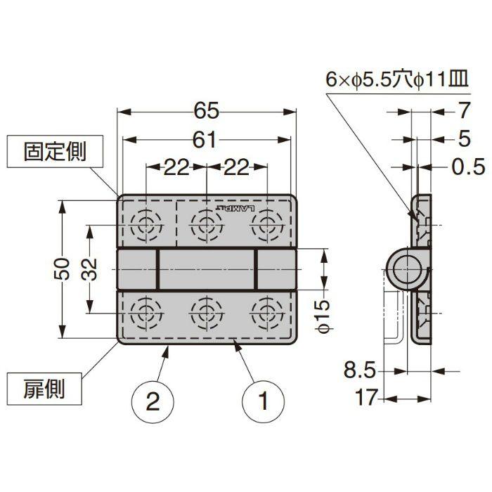 ランプ印 トルクヒンジ SK-T-ZA型 SK-T-ZA-3SCR