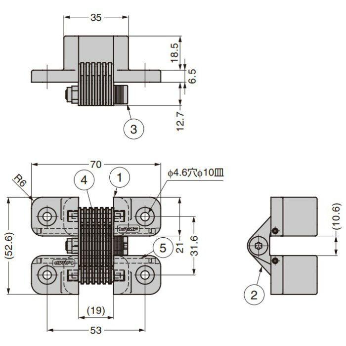 ランプ印 トルク隠し丁番 HG-RT型 HG-RT50