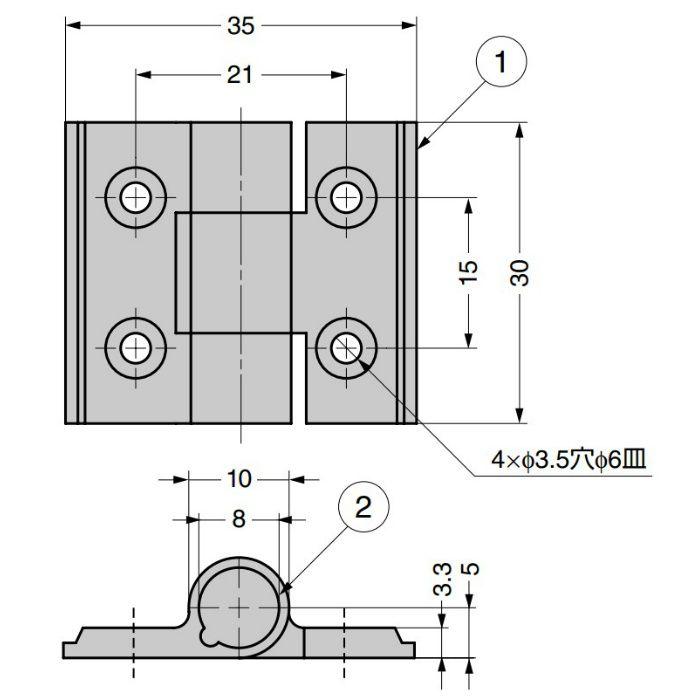 アルミ合金製クリックヒンジ 72-1-CS型 シルバー 72-1-CS-4235