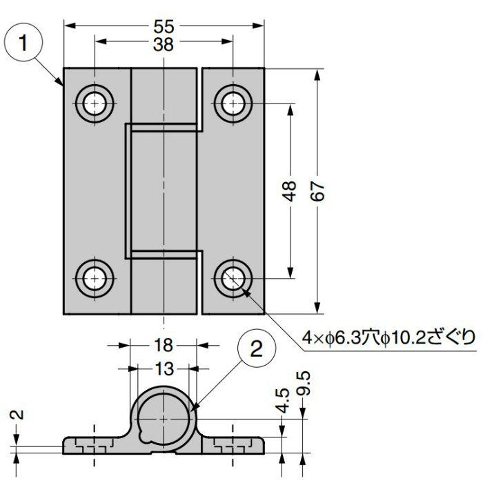 アルミ合金製クリックヒンジ 72-1-CM型 ブラック 72-1-CM-4225