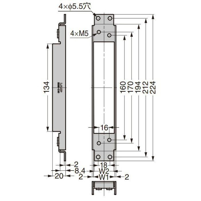 ランプ印 スチールドア・スチール枠用ブラケット HES3D-E190BKT型 三次元調整機能付隠し丁番 HES3D-E190型用 PAT HES3D-E190BKT-F