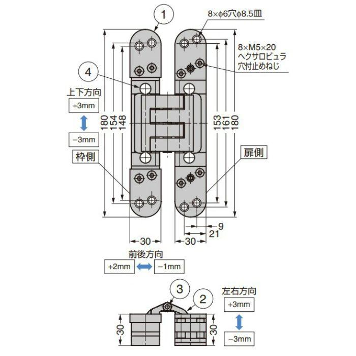 Basys 三次元調整機能付隠し丁番 DX61