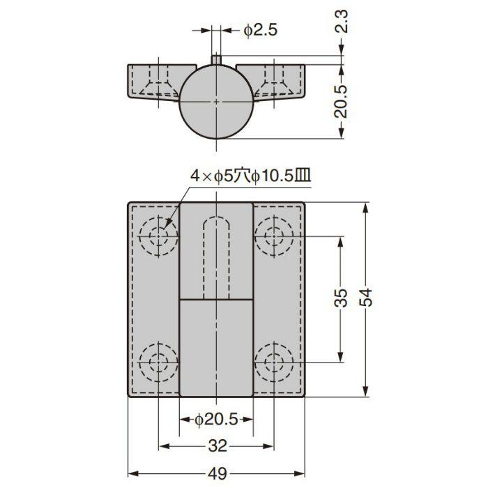HEWI 丁番 B9505-50型 レッド B9505-50L-33