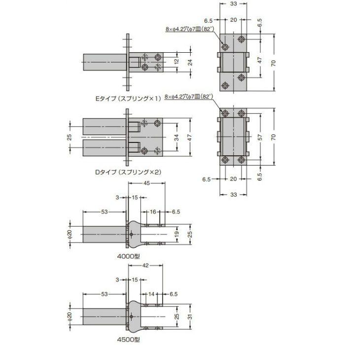 DICTATOR スイングドアヒンジ 4500型 4500E-NI