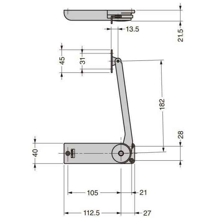 ランプ印 フリッパードア金具 OV-EZ型 OV-EZ-5