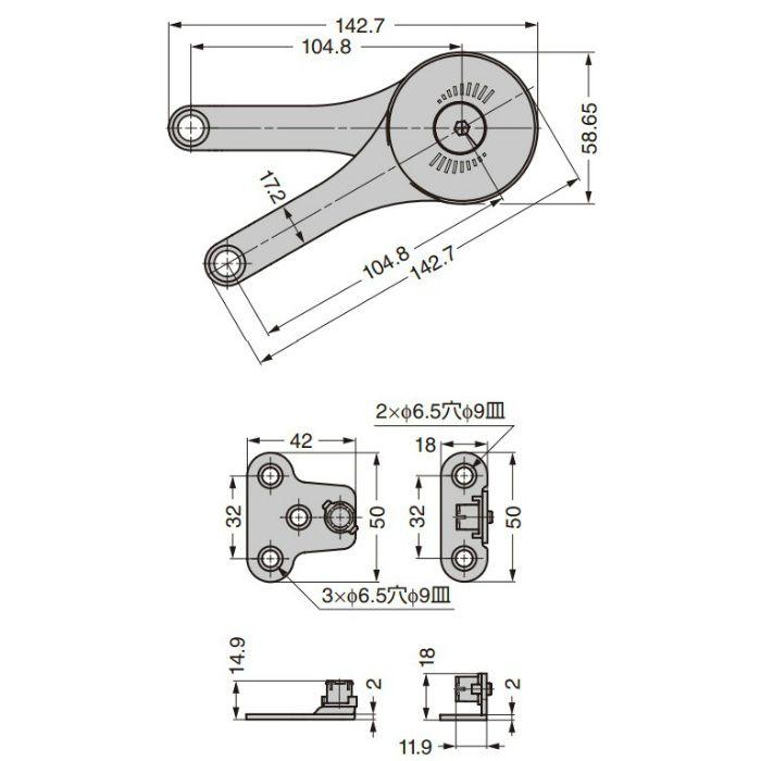 フリーストップ機構付ステー LP1型 ラージ LP1-GA00-K693